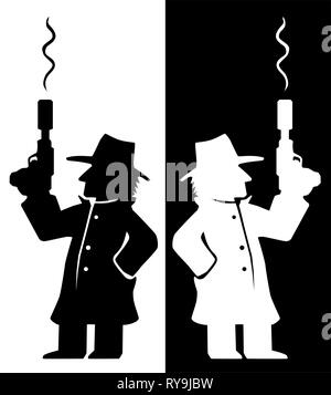 Assassin agent with smoking gun character black and white silhouette, vector illustration, vertical - Stock Photo