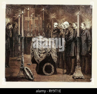 The Royal Party in the Mortuary Chapel at Woolwich, Funeral of the Late Prince Louis Napoleon, Engraving 1879 - Stock Photo