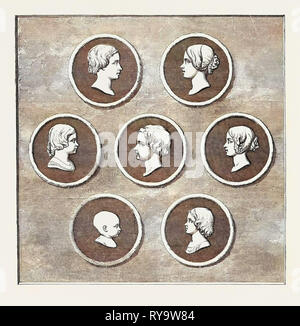 Portraits of the Royal Children, Modelled by Command of Her Majesty, Royal Mint: 1. Victoria Adelaide Mary Louisa, Born November 21, 1840, Princess Royal. 2. Albert Edward, Prince of Wales, Born November 9, 1841. 3. Alice Maud Mary, Born April 25, 1843. 4. Alfred Ernest Albert, Born August 6, 1844. 5. Helena Augusta Victoria, Born May 25, 1846. 6. Louisa Caroline  Alberta, Born March 18, 1848. 7. Arthur William Patrick Albert, Born May 1, 1850 - Stock Photo