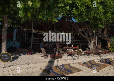 Breakfast at Castaway Resort on Sunrise beach, Ko Lipe island, Thailand - Stock Photo
