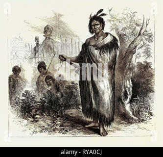 Te Kooti, the Maori Chief and Leader of Insurgents in New Zealand, 1870 - Stock Photo