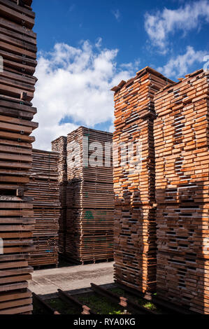Stacks of wood at depot - Stock Photo