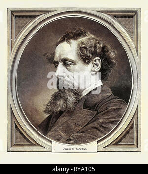 Charles Dickens, Born at Portsmouth, 7 February, 1812, Died at Gad's Hill, Kent, 9 June, 1870 - Stock Photo