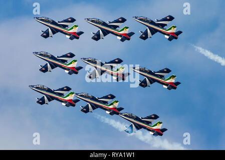 The Frecce Tricolori is the aerobatic demonstration team of the Italian Aeronautica Militare, Italian Air Force. - Stock Photo