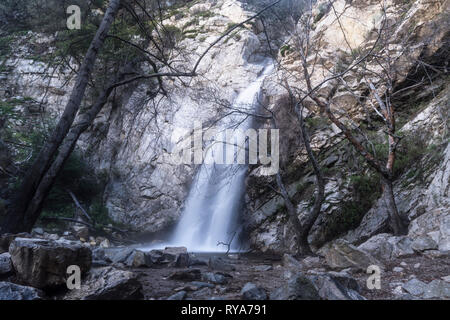 Sturtevant Falls and Creek with motion blur.  A popular Angeles National Forest natural area in the San Gabriel Mountains near Los Angeles and Pasaden - Stock Photo