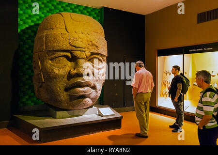 Colossal Olmec Head discovered in San Lorenzo, Mexico.   This is a copy of the original which weighs around 20 tons.  American Museum of Natural Histo - Stock Photo