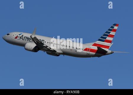 BOEING 737-MAX8 (N303RG) OF AMERICAN AIRLINES - Stock Photo