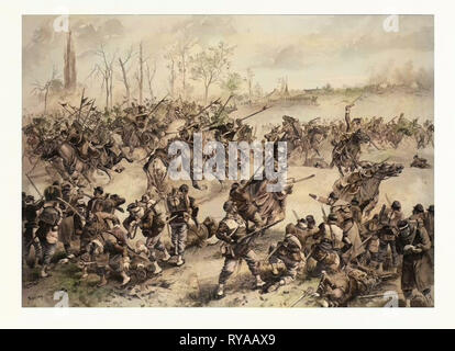 From the Battle of St. Quentin on the 19th of January 1871. German Cavalry Charging at a French Defensive Line. The Franco-Prussian War or Franco-German War, Often Referred to in France As the War of 1870. Amling, Franz, German Painter, 1853 in Trier, 1894 in Schleissheim, Student of Hasselhorst at the Städel Institute at Frankfurt a. M. In 1884 He Went to Munich. He Painted Genre Scenes and Popular Military - Stock Photo