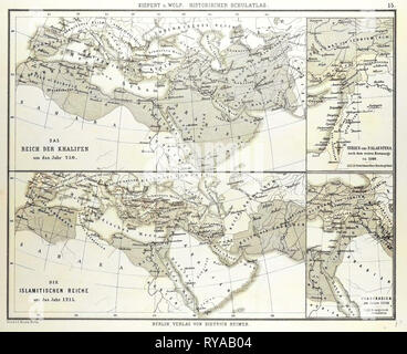 Map of the Umayyad Caliphate Empire in 750 and the Islamic Empire in 1215 - Stock Photo