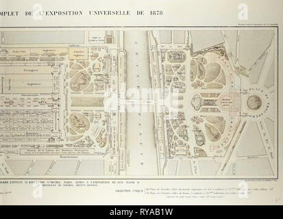 Map of the Universal Exposition of 1878 Paris - Stock Photo