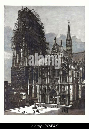Cologne Cathedral, Finished after Six Centuries, Engraving 1880, Germany - Stock Photo