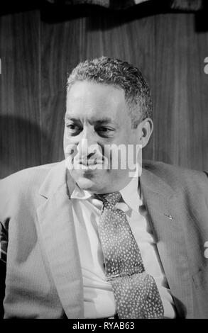 Thurgood Marshall, attorney for the NAACP  -  September 17, 1957, later serving as a US Supreme Court Justice. Thurgood Marshall (July 2, 1908 – January 24, 1993) was an American lawyer, serving as Associate Justice of the Supreme Court of the United States from October 1967 until October 1991. Marshall was the Court's 96th justice and its first African-American justice. Prior to his judicial service, he successfully argued several cases before the Supreme Court, including Brown v. Board of Education.  Born in Baltimore, Maryland, Marshall graduated from the Howard University School of Law. - Stock Photo