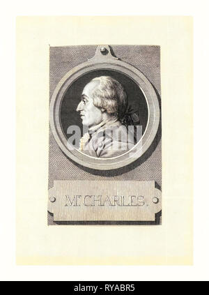Mr. Charles, Head-and-Shoulders Profile Portrait of French Balloonist J.A.C. Charles, Who Made the First Flight in a Hydrogen Balloon, Dec. 1, 1783 - Stock Photo