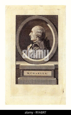 M. Charles,  Head-and-Shoulders Profile Portrait of French Balloonist J.A.C. Charles, Who Made the First Flight in a Hydrogen Balloon, Dec. 1, 1783 - Stock Photo
