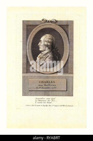 Head-and-Shoulders Profile Portrait of French Balloonist J.A.C. Charles, Who Made the First Flight in a Hydrogen Balloon, Dec. 1, 1783 - Stock Photo