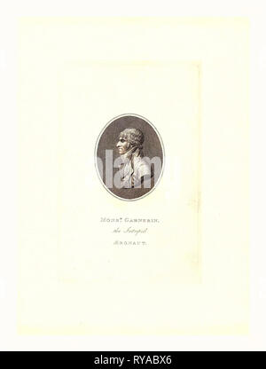 Oval Head-and-Shoulders Profile Portrait of French Balloonist and Parchutist A.J. Garnerin - Stock Photo