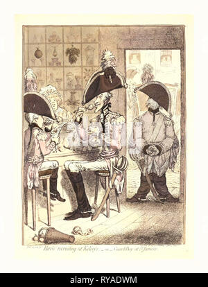 Hero's Recruiting at Kelsey's or Guard Day at St. James's, Gillray, James, 1756-1815, Engraver, London, Engraving 1797, Two Officers, on a Tall, Lanky, Elderly Man and the Other a Child, Sit Facing Each Other Eating Sweets at a Confectioner's. A Third Officer, Fat and Knock-Kneed, Stands Guard in the Doorway. The Windows of the Shop Are Full of Various Fruits and Sweets - Stock Photo