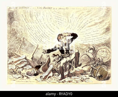 Maniac-Raving's or Little Boney in a Strong Fit, Gillray, James, 1756-1815, Engraver, London, 1803,  Napoleon in a Fury Over Relations Between France and England - Stock Photo