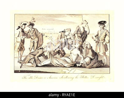 The Able Doctor, or, America Swallowing the Bitter Draught, En Sanguine Engraving  Shows Lord North, with the Boston Port Bill Extending from a Pocket, Forcing Tea (the Intolerable Acts) Down the Throat of a Partially Draped Native Female Figure Representing America Whose Arms Are Restrained by Lord Mansfield, While Lord Sandwich, a Notorious Womanizer, Restrains Her Feet and Peeks Up Her Skirt. Britannia, Standing behind America, Turns Away and Shields Her Face with Her Left Hand - Stock Photo