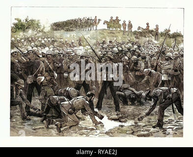 The Rush for Water at the Abu Halfa Wells on the Way to Gubat—an Incident of Sir Herbert Stewart's Second Desert March - Stock Photo