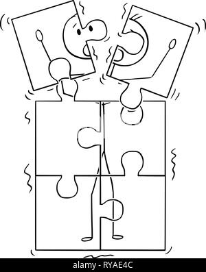 Cartoon of Image of Man Broking Up in Jigsaw Puzzle Pieces