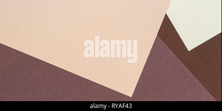 Color papers geometry composition background with beige and brown color tones - Stock Photo
