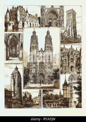 Tours: 1. The Cathedral (St. Gatien), 2. Tour De Charlemagne, 3. Tour De L'Horloge, or Saint Martin, 4. Portal, Notre Dame La Riche, 5. Interior, Notre Dame La Riche, 6. Château De Chenonceau, 7. Château Azay Le Rideau, 8. Hôtel Gouin - Stock Photo