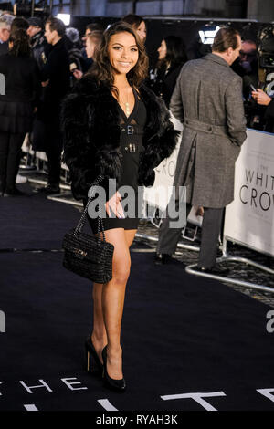 London, UK. 12th Mar 2019. Vanessa Bauer poses on the black carpet at The UK Premiere of The White Crow on Tuesday 12 March 2019 at Curzon, Mayfair, London. Picture by Credit: Julie Edwards/Alamy Live News - Stock Photo