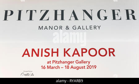 London, UK.  13 March 2019.  Photocall for the launch of a solo exhibition by Anish Kapoor, at the restored Pitzhanger Manor and Gallery, in Ealing.  The exhibition runs 16 March to 18 August 2019. Credit: Stephen Chung / Alamy Live News - Stock Photo