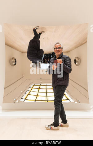 London, UK.  13 March 2019. Anish Kapoor poses for the media next to his work 'Untitled', 2018.  Photocall for the launch of a solo exhibition by Anish Kapoor, at the restored Pitzhanger Manor and Gallery, in Ealing.  The exhibition runs 16 March to 18 August 2019. Credit: Stephen Chung / Alamy Live News - Stock Photo