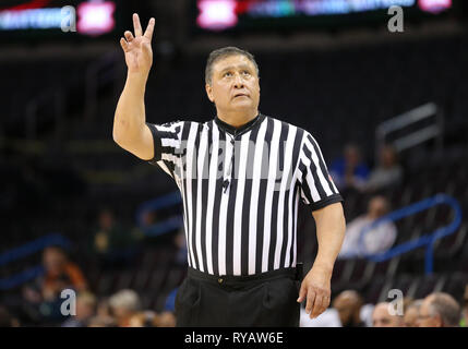 Oklahoma City, OK, USA. 9th Mar, 2019. A referee during a Phillips 66 Big 12 Womens Basketball Championship quarterfinal game between the Iowa State Cyclones and the Kansas Jayhawks at Chesapeake Energy Arena in Oklahoma City, OK. Gray Siegel/CSM/Alamy Live News - Stock Photo