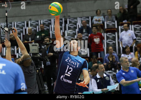 Gdansk, Poland March, 13th. 2019 Trefl Gdansk (Poland) v Zenit Kazan (Russia) CEV Champions League Men - Quarter Finals volleyball game. ALEXANDER BUTKO (12) of Zenit-Kazan is seen in action  © Vadim Pacajev / Alamy Live News Stock Photo