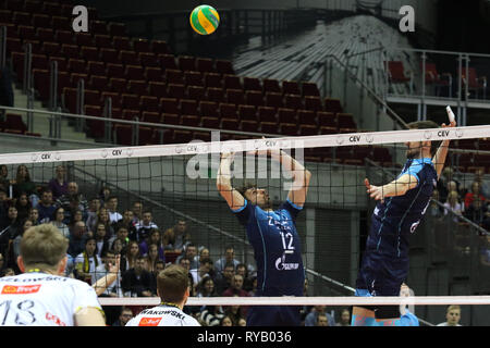 Gdansk, Poland March, 13th. 2019 Trefl Gdansk (Poland) v Zenit Kazan (Russia) CEV Champions League Men - Quarter Finals volleyball game. ALEXANDER BUTKO (12) of Zenit-Kazan is seen in action. © Vadim Pacajev / Alamy Live News Stock Photo