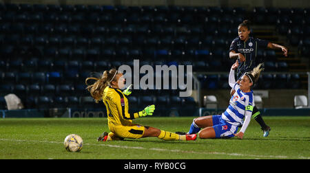 High Wycombe, Bucks, UK. 13th Mar, 2019. Nikita Parris of Manchester City scores to make it 1-1 during the Women's Super League match between Reading FC Women and Manchester City Women at Adams Park, High Wycombe, England on 13th March 2019. Editorial Use Only Credit: Paul Terry Photo/Alamy Live News - Stock Photo