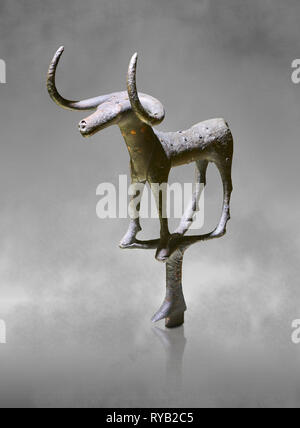 Bronze Age Hattian ceremonial bull statuette in bronze from a possible Bronze Age Royal grave (2500 BC to 2250 BC) - Alacahoyuk - Museum of Anatolian  - Stock Photo