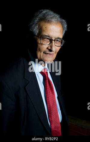 Amartya Sen pictured prior to his lecture 'The Idea of Justice '  at The London Literature Festival, The Southbank Centre.     AS is one of the worlds leading public intellectuals . In the lecture he argues for a new theory of justice requiring the agreement not just of community making laws , but of outsiders who might be affected. By moving away from an abstract ideal of the perfect society , Sen argues that our sense of justice can be rooted in the world we live in . The lecture based on new book out next week 'The Idea of Justice ' [Penguin] - Stock Photo