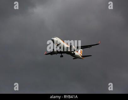 GERMANY, FRANKFURT - SEPTEMBER 06, 2015: Airbus A320-216, EC-LUL of Iberia flies in the sky - Stock Photo