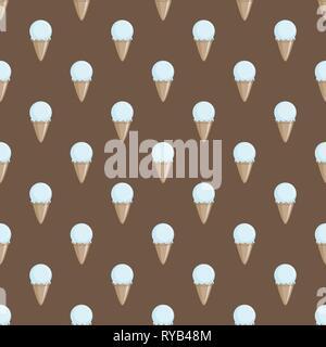 Ice cream choco cone beige white seamless pattern background. Vector illustration - Stock Photo