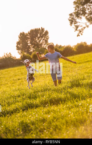 A Dalmatian dog leaps into the air while a young boy walks beside in open Countryside. - Stock Photo