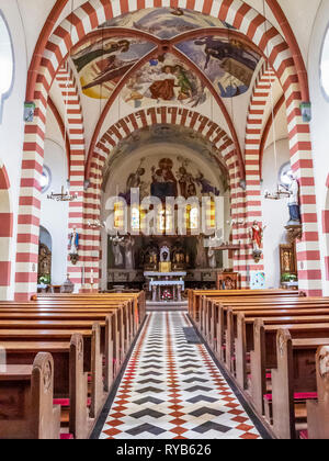 BIERSDORF AM SEE, GERMANY - MARCH 22, 2015: Colorful interior view of St. Martin's Church - Stock Photo