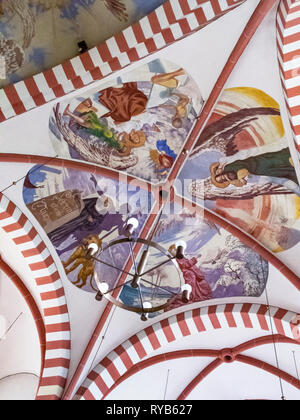 BIERSDORF AM SEE, GERMANY - MARCH 22, 2015: Colorful vault paintings at St. Martin's Church from 1927 by the Munich artist Nicolaus Kraemer - Stock Photo