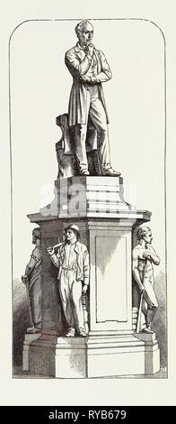 Statue of Mr. John Cockerill at Seraing, Belgium, 1871 - Stock Photo