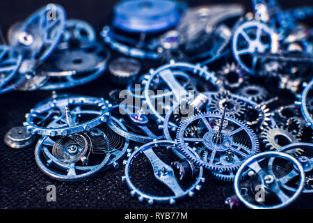 Blue cogs gears wheels collection set - Stock Photo