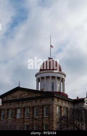 Old glory flying above the rotunda on the old (original) state capitol building in Springfield, Illinois. - Stock Photo