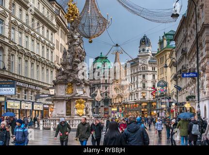 Trinity Column on Graben at Christmas. Vienna, Austria. - Stock Photo