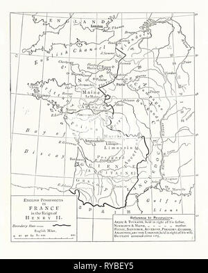 Map of the English Possessions in France (1189 - Stock Photo
