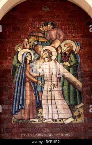 Stations of the Cross: Jesus meets his Blessed Mother; A panel of Portuguese tiles outside the shrine of Fatima - Stock Photo