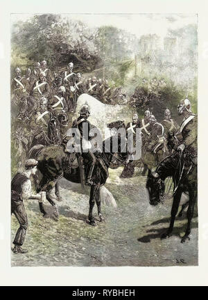 The Cavalry Manoeuvres: The Guards on the March from Aldershot to Churn Camp, Arriving at a Watering Place, 1890 Engraving - Stock Photo