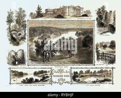 Roundhay Park Near Leeds: The Mansion, South West Front, the Waterfall, the Upperlake, Waterloo Lake, the Cascade, the Castle, View from the Lodge Entrance, the Canal Garden - Stock Photo