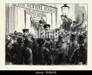 Sketches in New York During the Presidential Election: Outside a Newspaper Office - Stock Photo